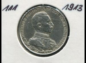 Preußen Regierungsjubiläum 25 Jahre Wilhelm II., 2 Mark von 1913, Silber 900, vz