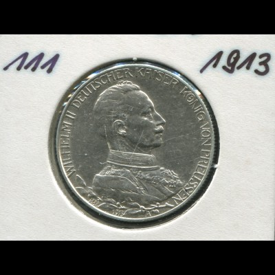 Preußen 25 J. Regierungsjubiläum Wilhelm II., 2 Mark von 1913, Silber 900, vz
