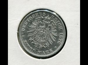 Sachsen König Albert - Reichsadler klein, 2 Mark von 1876, Silber 900, ss-vz