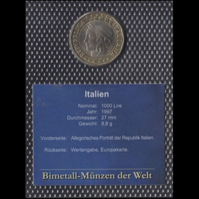 Italien: 1000 Lire 1997 - Allegorisches Portrait Republik Italien & Europakarte