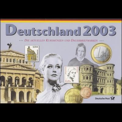 Post-Edition: Die aktuellen Euro-Kursmünzen 2003 D/München und Dauerbriefmarken