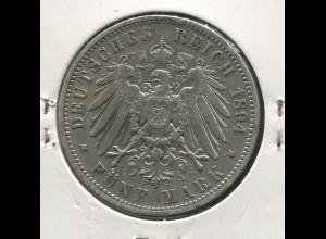 Sachsen König Albert - Reichsadler groß, 5 Mark von 1894, Silber 900, ss - s