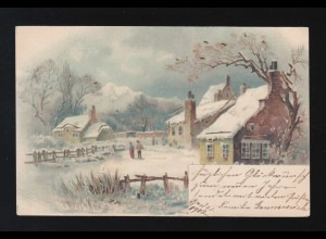 Dorfidylle im Winter Neujahr, Frost Berge Schnee Goldverziert, Breslau1.1.1902