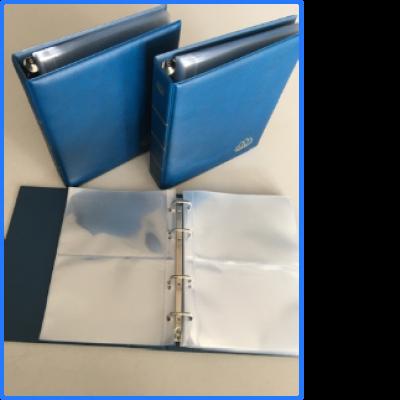LINDNER Postkarten-Album LOTOS, blau, 50 geteilte Hüllen - 3er-Pack GEBRAUCHT