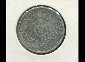 Hamburg - großer Reichsadler, 2 Mark 1901, Silber 900, sehr schön ss