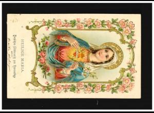 Namenstag Heilige Maria Glückwunsch Blumenranken Gold Prägung, Fuessen 26.5.1904