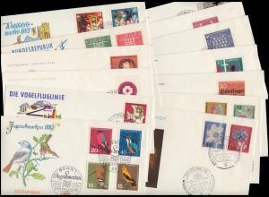 390-411 Bund-Jahrgang 1963 komplett auf Ersttagsbriefen / FDC mit ESSt