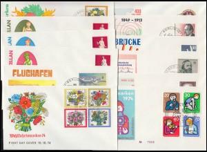 464-481 Berlin-Jahrgang 1974, komplett auf 12 Schmuck-FDC