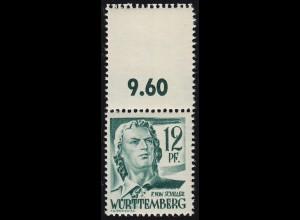 4LF Freimarke 12 Pf mit komplettem Oberrand-Markenfeld, gefaltet **