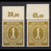 143b Germania 20 Pf: Paar: Druckbilder in Höhe versetzt, gestempelt, Infla-gepr.