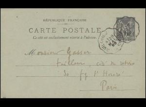 Ganzsache Postkarte Allegorie Frieden und Handel 10 C. am 28.5.1889 nach Paris