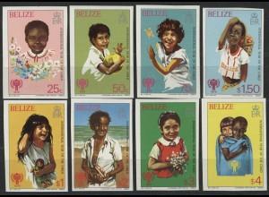 Belize: Lachende Kinder, 8 UNGEZÄHNTE Marken, Satz **