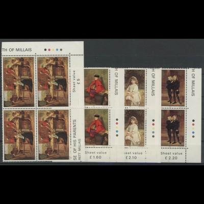 Jersey: Kindergemälde & Familie von Millais, 4 Werte als ER-Viereblöcke u.r. **