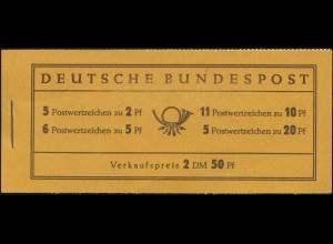 2c Heuss Peligom - kleine, unauffällige Deckelmängel, Heftchen-Blätter **