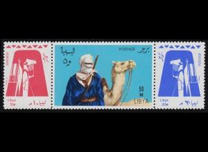 Libyen: 219-221 Volksstamm der Tuareg, Zusammendruck Dreierstreifen, **