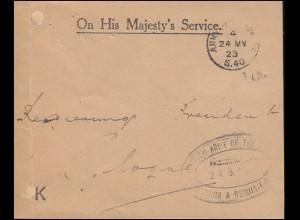 Britische Feldpost 1923 in Deutschland: Brief ARMY POST OFFICE S.40 - 24.5.23