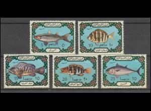 Libyen: 442-446 Fische, Satz ** postfrisch