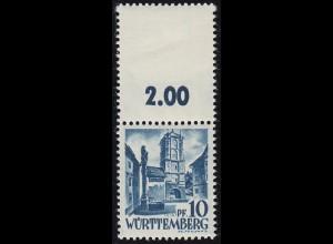 3LF Freimarke 10 Pf mit komplettem Oberrand-Markenfeld, gefaltet **