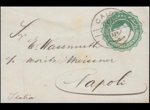 Ägypten Pyramide 2 Mill. grün Umschlag CAIRE / Kairo 1900 nach Neapel / Italien