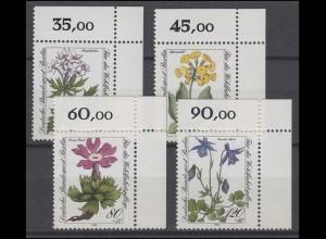 703-706 Wofa Berlin Alpenblumen 1983: Satz Ecken oben rechts **