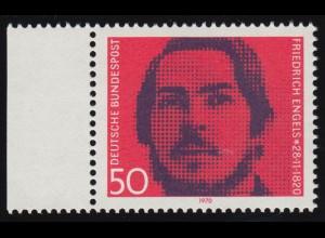657 Friedrich Engels - weißer Strich rechts am Mundwinkel, Randstück **
