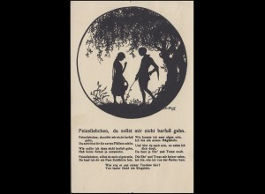 AK Künstler-Schattenbilder Feinsliebchen von Elisabeth Forck, gelaufen 1927