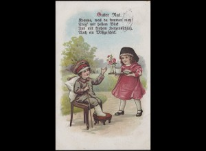 Humor-Ansichtskarte Guter Rat, EF 7 1/2 Pf. Germania BAD MÜNSTER a. STEIN 7.7.17