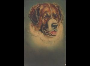 Feldpost 5. Art.-Munitions-Kol. XVI. A.K. 23.2.17 auf AK Gemälde Hundeportrait
