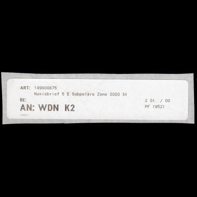 Retoure-Label für Numisbrief 5 Euro Subpolare Zone AN: WDN K2 PF 19521