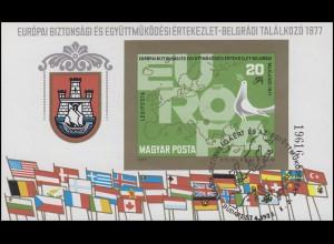 Ungarn Block 126B KSZE-Konferenz, Block ungezähnt mit ESSt Budapest 3.10.1977