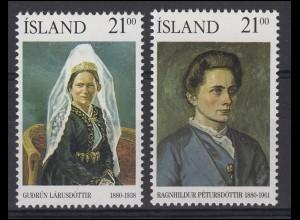 Island: Berühmte Isländer Gudrun Larusdottir und R. Petursdottir, 2 Werte **