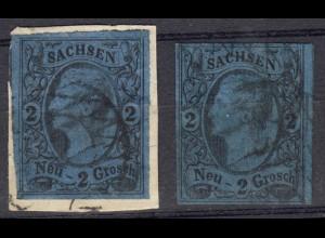 Sachsen 10 König Johann I. 2 Neu-Groschen Tönungen, beide gestempelt
