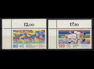 777-778 Sport Gymnastik und Judo Berlin 1987: Satz Ecken oben links **