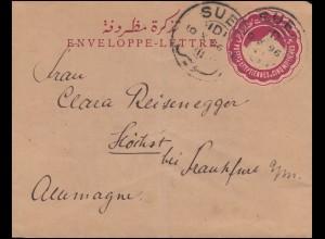 Ägypten Pyramide 5 Mill. rot Postkarte SUEZ 10.10.1896 nach Deutschland