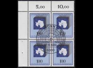 1117 Antarktis-Vertrag 1981 als Eckrand-Viererblock oben links, ESSt BONN