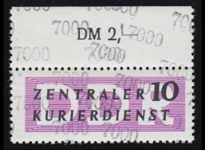 10 ZKD-Dienstpost (B) 10 Pf - 7000 Oberrandstück Doppeldruck der Kontrollzahl **