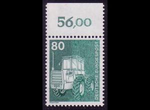 853 IuT 80 Pf als Oberrand-Stück mit teilweise fehlender schwarzgrüner Farbe **