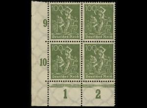 187c Freimarke Arbeiter 100 Pf blassgrün Eckrand-Viererblock unten links **
