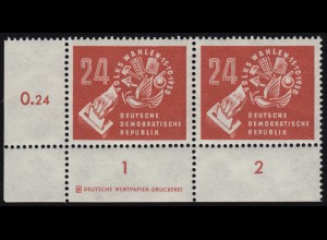275DZ Volkswahlen 1950, Eckrand-Paar mit Druckeizeichen auf R1, ungefaltet, **
