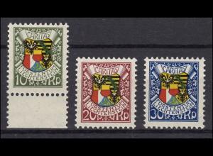 75-77 Fürst Johann II. 87. Geburtstag, 3 Werte, sauber postfrisch **