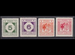 Görlitz 9-12y Freimarken, Satz mit geriffelter Gummierung ** teils geprüft BPP