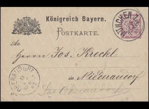 Bayern Postkarte Ziffer 5 Pf lila DV 87: MÜNCHEN I. - 12.9.87 nach Niederaudorf