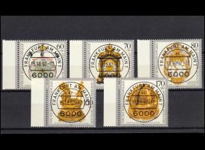 1631-1635 Kostbare alte Uhren: Seitenrand-Satz mit Voll-O VS Frankfurt mit ET-O
