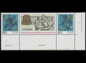 1320-1322 MMM - ER-ZD mit überbreitem Unterrand und mit Farbskala hellgrün **