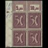 183b W OR Freimarke Ziffer 50 Pf Eckrand-Vierer 3'7'3 / 2'9'2 **