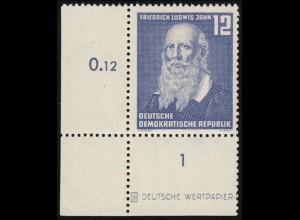 317DZ Jahn als Ecke unten links mit Druckereizeichen, ** geprüft Weigelt BPP