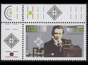 1803 Radio - Ecke oben links - markante senkrechte, überdruckte Quetschfalte **