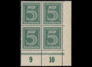 23 P Dienstmarke ohne Ablösungsziffer 21, Eckrand-Viererblock unten rechts **