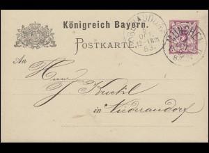 Bayern Postkarte Ziffer 5 Pf lila ohne DV: MÜNCHEN II. 4.10.83 nach Niederaudorf