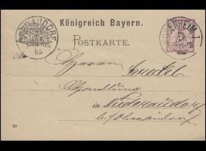 Bayern Postkarte Ziffer 5 Pf lila DV 89: ROSENHEIM I. - 2.1.90 nach Niederaudorf